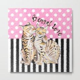 Bengal Cats Love Polka Dot Pink Stripes Metal Print