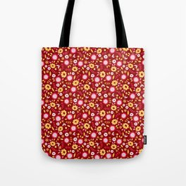 Autumn floral - red Tote Bag