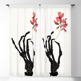 Skeleton Hand with Flower Blackout Curtain