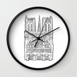 Notre Dame facade illustration. Wall Clock