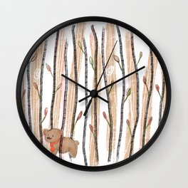 Rise and Grind-Brown Bear Necktie Wall Clock
