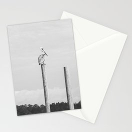Pelican on a Post Stationery Cards