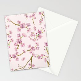 Spring Flowers - Pink Cherry Blossom Pattern Stationery Cards