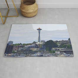 Gold Topped Space Needle Rug