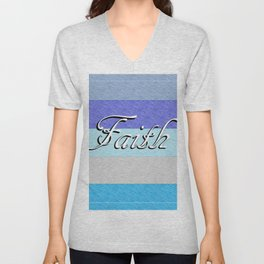 FAITH on Blue Unisex V-Neck