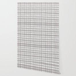 Slate Violet Gray SW9155 Watercolor Brushstroke Plaid Pattern on White Wallpaper