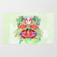 flamingo Area & Throw Rugs featuring Flamingo by Kangarui by Rui Stalph