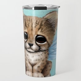 Cute Baby Cheetah Cub with Fairy Wings on Blue Travel Mug