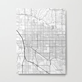 Tucson Map, Arizona USA - Black & White Portrait Metal Print
