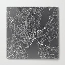 New Haven Map, USA - Gray Metal Print