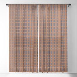 Dark Blue Dotted Lines on Rust Sheer Curtain
