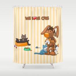 Rabbit catlover Shower Curtain