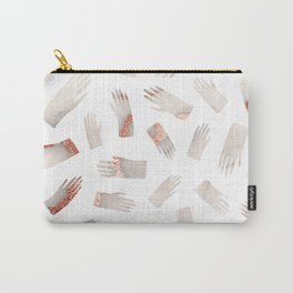 Make Light Work || - Rose Gold Marble Hands Print Carry-All Pouch
