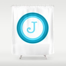 Blue letter J Shower Curtain