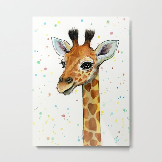 Giraffe Baby Animal with Hearts Watercolor Cute Whimsical Animals Nursery Metal Print