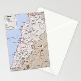 Map of Lebanon (2002) Stationery Cards