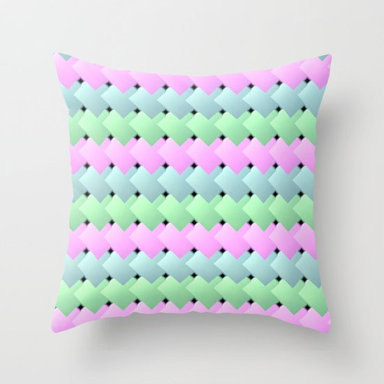 Overlapping Diagonal Square Pattern Throw Pillow