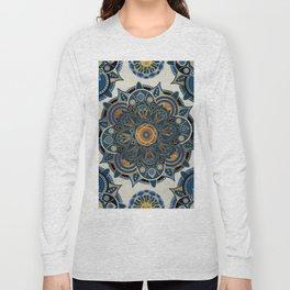 Mandala Blue and Gold Long Sleeve T-shirt