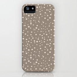 PolkaDots-Peach on Taupe iPhone Case
