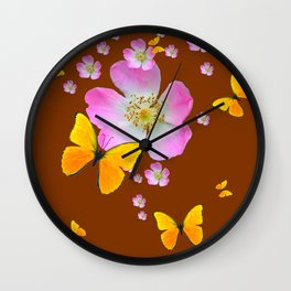 COFFEE BROWN YELLOW BUTTERFLIES & PINK WILD ROSES Wall Clock