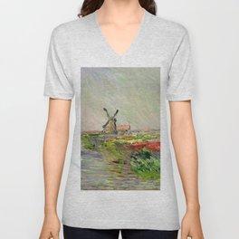 "Claude Monet ""Tulip field in Holland (Champ de tulipes en Hollande)"" Unisex V-Neck"