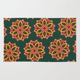 'Autumn Transition' Fall Autumn Flowers On Dark Green Rug