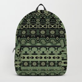 Colorful tribal green black ornament . Backpack