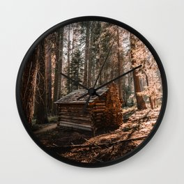 Log Cabin in the Forest Wall Clock
