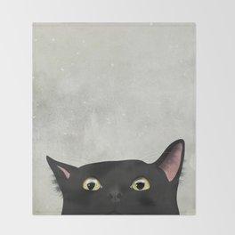 Curious Black Cat Throw Blanket