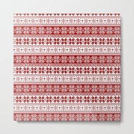 Red Winter Fair Isle Pattern Metal Print