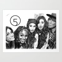 fifth harmony Art Prints featuring Fifth Harmony Group Drawing by Emilia Apreda