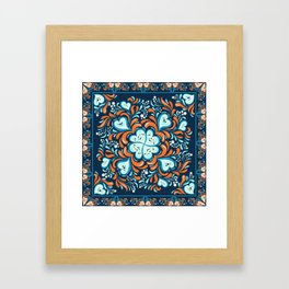 Abstract seamless pattern with frame. Khokhloma. Framed Art Print