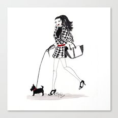 Houndstooth and a Scottie Watercolor Fashion Illustration Canvas Print