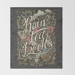 Rain, Tea & Books - Color version Throw Blanket