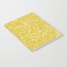 Garden Floral Drawing on Yellow Notebook