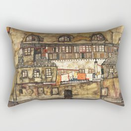 Egon Schiele - House Wall on the River, 1915 Rectangular Pillow
