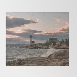 Annisquam Lighthouse sunset Throw Blanket