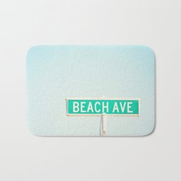 Beach House Photography, Coastal Art Print, Aqua Blue Seashore Summer Photo Bath Mat