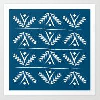 indigo wreath Art Print
