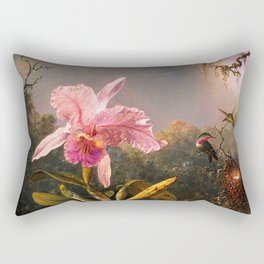 Martin Johnson Heade Cattleya Orchid and Three Brazilian Hummingbirds Rectangular Pillow