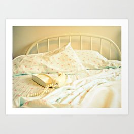 Sunday Morning ~ Vintage Telephone in Bed Art Print