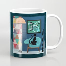 Creature Comforts Mid-Century Interior With Black Cat Coffee Mug