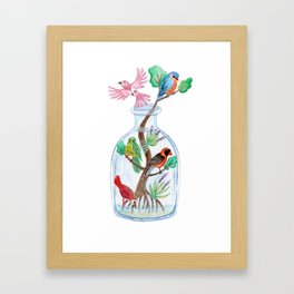 Birds in a Bottle Watercolor Painting Framed Art Print