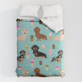 dachshund ice cream multi coat doxie dog breed cute pattern gifts Comforters