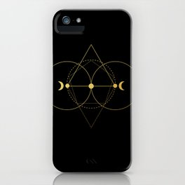 Gold Moon Geometry Black iPhone Case