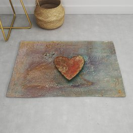 Rusty grunge love heart Rug