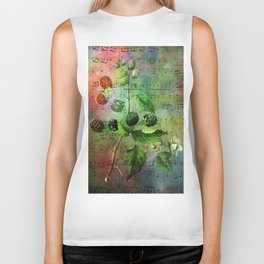 Blackberry Music, Vintage Botanical Illustration Collage Art Biker Tank