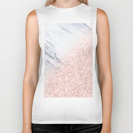 She Sparkles Rose Gold Pink Marble Luxe Geometric Biker Tank