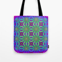 psychedelic art Tote Bags featuring PSYCHEDELIC flowers by 2sweet4words Designs