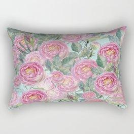 Vintage Roses Mint Rectangular Pillow